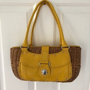 Monsac yellow rattan summer handbag basket